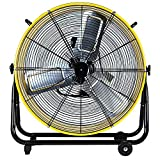 Simple Deluxe HIFANXDRUM24 24 Inch Heavy Duty Metal Industrial Drum Fan, 3 Speed Air Circulation for Warehouse, Greenhouse, Workshop, Patio, Factory and Basement - High Velocity - ETL Listed, Yellow