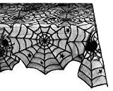 DII 54x72' Rectangular Polyester Lace Tablecloth, Black Spider Web - Perfect for Halloween, Dinner Parties and Scary Movie Nights