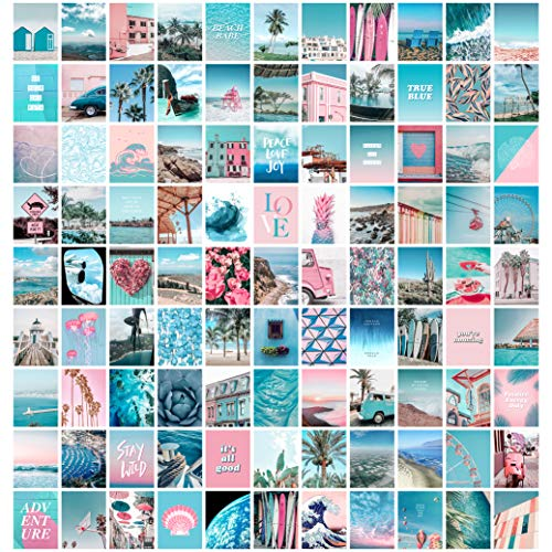 Blue Aesthetic Wall Collage Kit, 100 Set 4x6 inch, Pink VSCO Room...