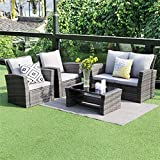Wisteria Lane 5 Piece Outdoor Patio Furniture Sets, Wicker Rattan Sectional Sofa with Seat Cushions,Gray