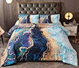 Btargot Marble Comforter Set Queen Blue, 3-Pieces Microfiber Bedding Abstract Artwork Watercolor Ultra Soft Quilt for All Seasons