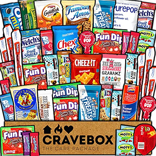 CraveBox Care Package (45 Count) Snacks Food Cookies Granola...