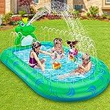 LETOMTY SplashPool&Pad, Tema Rana Piscina Sprinkler per Bambini, 3-in-1 SpruzziPiscinaGonfiabile con 2 Parti a Spruzzo per Giardino Piscina Estivo all'aperto(172 * 104 * 46 cm)