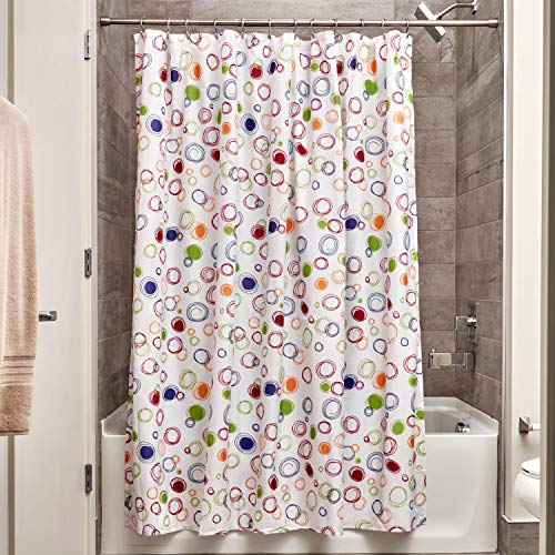 iDesign Fabric Doodle Shower Curtain for Master, Guest, Kids', College Dorm Bathroom, 72' x 72', Multi-Colored