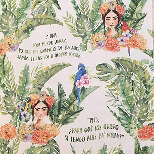 Tela por metros de loneta estampada digital - Half Panamá 100% algodón - Ancho 280 cm - Largo a elección de 50 en 50 cm | Frida Kahlo. Citas célebres