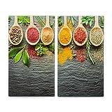 Lot de 2 cache-plaques Zeller en marbre, pour plaques cuisson Spices