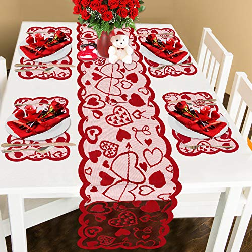 Comken Valentine's Day Table Runner and Placemats- Red, Set of 5   1PC Lace Heart Table Runner (13 x 72 Inch) and 4 PCS Lace Table Placemats for Valentines Table Decorations Dinner Party Supplies