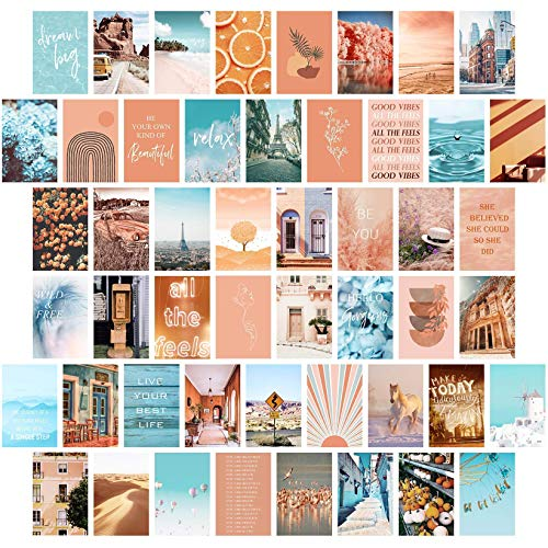 Peach Teal Wall Collage Kit Aesthetic Pictures, Bedroom Decor for...