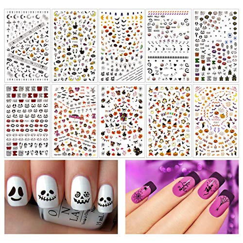 1200+ Pieces 3D Design Self Adhesive Halloween Nail Art Stickers Decals Tattoo Manicure Decoration for Fingernails Toenails Nail Tips