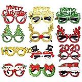 Lunettes de noël 12pcs Christmas Party Glasses nouveauté lunettes de fête fantaisie lunettes de Noël arbre renne joyeux noël père noël stand de photo accessoires props costume enfants 'faveur faveur