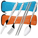 8 Pieces Flatware Sets Knife, Fork, Spoon, Chopsticks, SENHAI 2 Pack Rustproof Stainless Steel Tableware Dinnerware with Carrying Case for Traveling Camping Picnic Working Hiking(Orange,Light Blue)