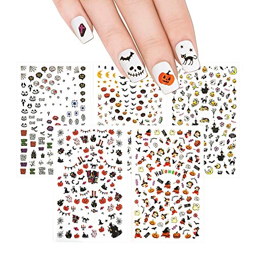 Winstonia Halloween Nail Stickers Decals Bundle Set, 150++ Pieces, Easy Manicure Decorations Fall Creepy Pumpkin Black Cats Witch Bats and More