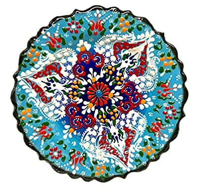 Hand painted ceramic plate from Turkey. Diameter: 7 inches-(18cm) Dry food items or decoration only, hand wash with care. This is a special handmade plate with raised ceramic design technique. It comes ready to be hanged on the wall. We ship from our...