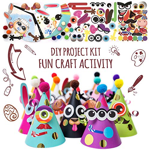 Fun Cone Hats Making Activity Kit – DIY Art & Craft Project Set w/ 12 Colorful Hats, Pompoms and Stickers. Enjoyable Indoor Family Time at Home. Party Celebration Kit for Kids Birthday, Spring Break, Easter, Christmas, Fiesta, Thanksgiving and New Year. Great as Handmade Decoration and Gifts, Group Activities, Game Supplies for Crafty Boys & Girls