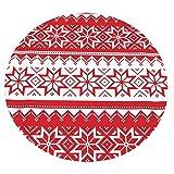 Xuanlin Manta cómoda, Manta Suave Redonda con diseño Rojo navideño para Adultos y niños