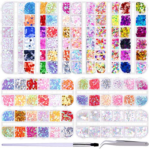 Duufin 10 Boxes Nail Sequins Colorful Nail Art Glitter Confetti Holographic Shining Nail Flakes 3D Laser Thin Star Heart Glitter Sequin for Nail Art Decoration with 1 Pc Tweezers and a Nail Brush Pen