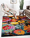 Unique Loom Lyon Collection Modern Floral Area Rug, 5 x 8 Feet, Black/Yellow