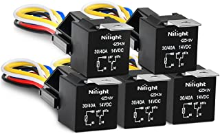Nilight 50003R Automotive Set 5-Pin 30/40A 12V SPDT with Interlocking Relay Socket and..