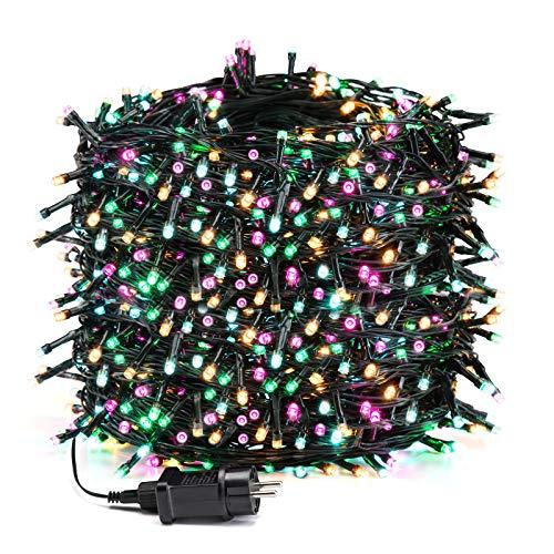 Avoalre Luci Natale Esterno 1000 LEDs 100M, Catena Luminosa 8 Modalit 4 Colori Impermeabile IP44 Luci Decorative per Interno/Esterno Albero di Natale Festa Nozze Compleanno, Rosa/Giallo/Blu/Verde