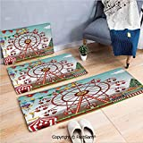 FashSam 3 Piece Non Slip Flannel Door Mat Ferris Wheel at The Amusement Park Illustration Distant Hills Flower Pots Indoor Carpet for Bath Kitchen(W15.7xL23.6 by W19.6xL31.5 by W19.6xL59)