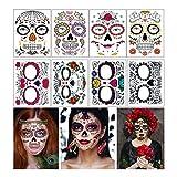 Tatuajes temporales de cara de Halloween Kit de maquillaje, 8 hojas, día de los...