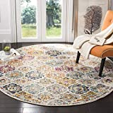 Safavieh Madison Collection MAD611B Bohemian Chic Vintage Distressed Area Rug, 4' Round, Cream/Multi