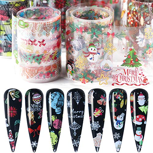 Christmas Nail Art Stickers Nail Foils Transfer Decals Holographic Foil Nail Art Supplies Winter Nail Foil Acrylic Nails Art Design Snowflakes Bell Snowman Santa Claus Manicure Charms (10 Sheets)