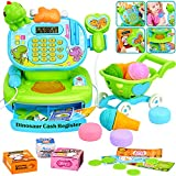 BATTOP Toy Cash Register for Kids w/ Realistic Actions & Sounds,Pretend Play Educational Toy Cash Register w/ Scanner,Calculator,Microphone,Play Money,Shopping Cart & Grocery Toy for Boys & Girls Gift