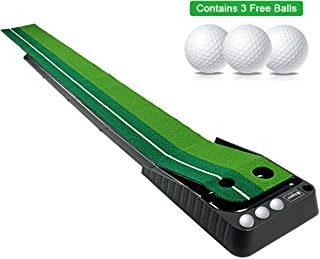 Asgens Golf Putting Green, Indoor/Outdoor Golf Auto Return Putting Mat, Dual-Track..