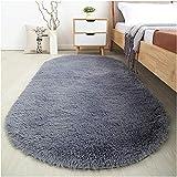 Softlife Fluffy Area Rugs for Bedroom 2.6' x 5.3' Oval Shaggy Floor Carpet Cute Rug for Boys Kids Room Living Room Home Decor, Grey