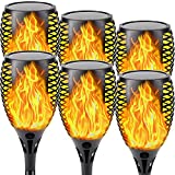Solar Lights Outdoor, Super Large 6 Pack Waterproof Solar Torch Light with Vivid Flickering Flame Solar Halloween Decorations Lighting Dusk to Dawn Auto On/Off Pathway Lights for Garden (Orange)