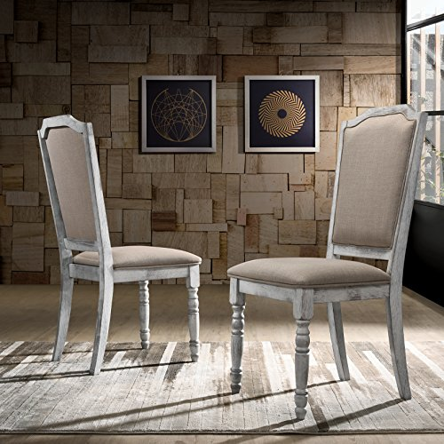 Roundhill Furniture Iris Turned Leg Wood Dining Chair, Set of 2, Weathered White