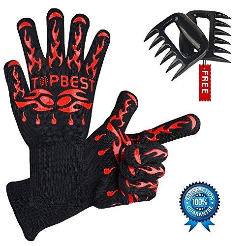 Topbest Coppia di guanti da barbecue di alta qualità, con Bear Paws EN407gratis, estremamente...