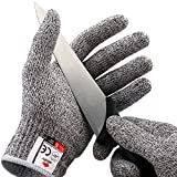 NoCry Cut Resistant Gloves - Ambidextrous, Food Grade, High Performance Level 5 Protection. Size Medium, Complimentary Ebook Included