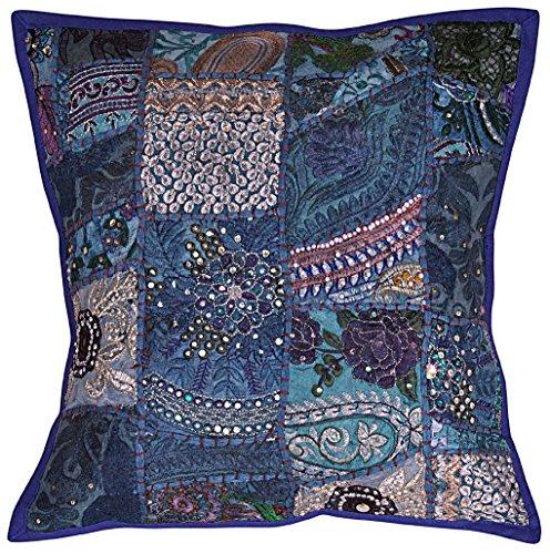 NANDNANDINI - Federa per cuscino in cotone bohmien, con mandala indiana fatta a mano, con inserto...