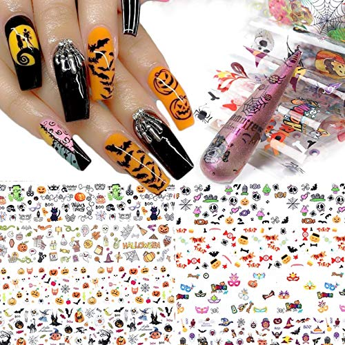 10 Sheets Halloween Nail Art Foil Transfer Stickers Day of The Dead Nail Foils Decals Pumpkin Spider Skull Ghost Witch Nail Art Design for Halloween Party Manicure Tips Acrylic Nails Decorations