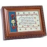 Cottage Garden Granddaughter Shining Light Woodgrain Rope Trim Jewelry Music Box Plays Jesus Loves Me