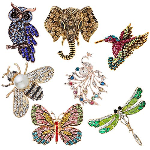 KWHY 7 Pieces Women Brooch Set Crystal Pin Brooch Colorful Animal Shape Brooch Pin for Women Girls Party Daily Supplies