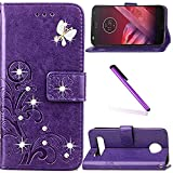 Moto Z2 Play Case,LEECOCO 3D Bling Crystal Diamonds Lucky Clover Floral with Card Slots Flip Stand PU Leather Wallet Case for Motorola Moto Z2 Play with 1 x Stylus Pen, Diamond Clover Purple