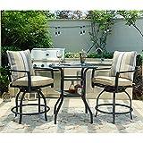 LOKATSE HOME Patio Bar Height 2 Outdoor Swivel Chairs and 1 High Glass Top Table, White Cushion Set