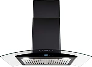 AKDY 30 in. Convertible Wall Mount Range Hood in Black Painted Stainless Steel with..