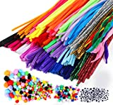 Fil Chenille Pompon Kit, 700pcs Fluffy Pipe Cleaners (300 Cure Pipes + 250...