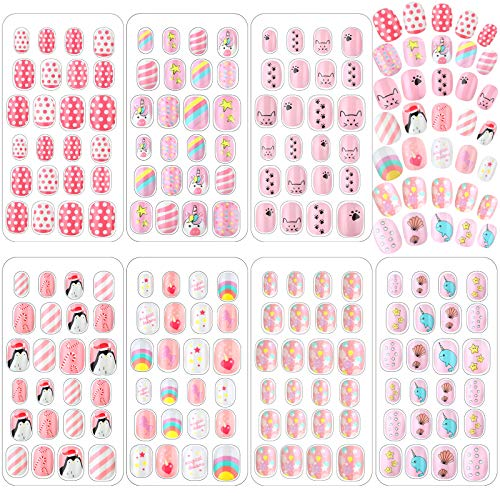 168 Pieces Children Nails Kids Girls Fake Nail Press on False Nails Artificial Full Cover Pre-Glue Nail Tip Cute Short Acrylic False Fingernail for Little Girl Christmas Nail Art (Light Pink Theme)