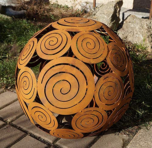 Rostikal   Edelrost Kugel Spirale zum Beleuchten   Gartendekoration, Ø 40 cm