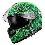 1Storm Motorcycle Full Face Helmet Dual Lens/Sun Visor Matt Skull Green