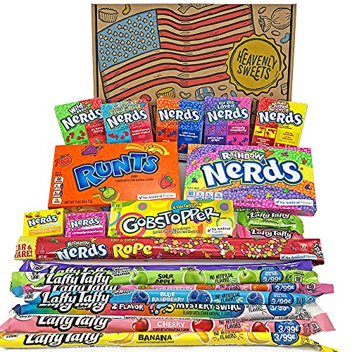 Heavenly Sweets Dulces Nerds Cesta Caramelos - Selection Americana con Surtido Nerds Rainbow, Mini, Laffy Taffy - Regalo Cumpleaños, Navidad, Día de San Valentín, Pascua - Pack de 28x19x4cm
