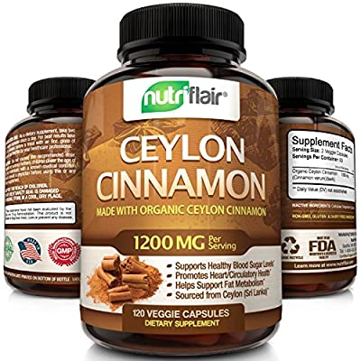 120 Capsules - Great Value; Satisfaction Assured - Contains 120 Vegetarian Capsules for a full 60 day supply; Each Serving of 2 Capsules provides 1200 Milligrams of Ceylon Cinnamon; Ceylon Cinnamon Capsules is often combined with NutriFlair Berberine...