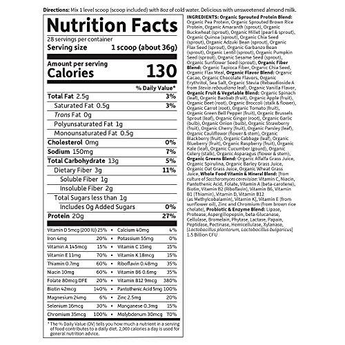 Garden of Life Meal Replacement - Organic Raw Plant Based Protein Powder, Chocolate, Vegan, Gluten-Free, 35.9oz (2lb 4oz/1,017g) Powder 2