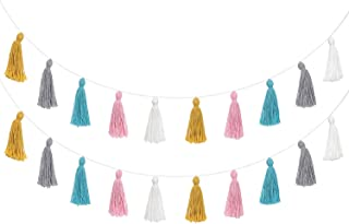 Mkono 2 Pack Cotton Tassel Garland Pastel Banner Colorful Party Backdrop Decorative Wall..