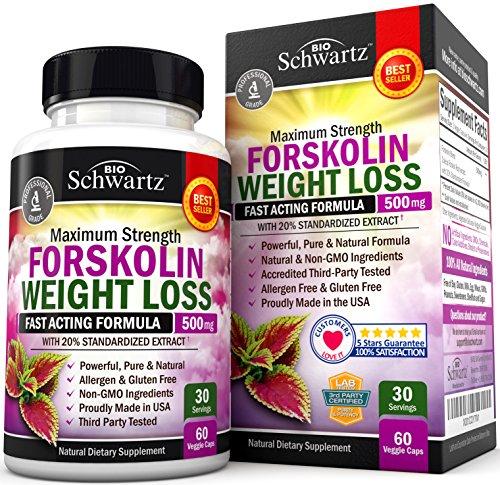 Forskolin Extract for Weight Loss. Pure Forskolin Diet Pills & Belly Buster Supplement. Premium Appetite Suppressant, Metabolism Booster, Carb Blocker & Fat Burner for Women and Men Coleus Forskohlii 1